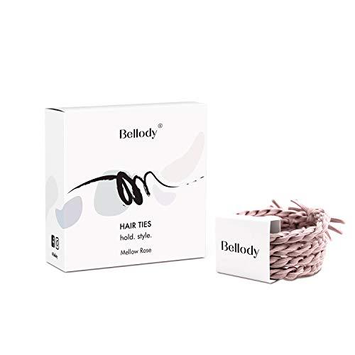 Bellody® Original Haargummis - Stylisch geflochtene Haargummis mit starkem Halt - (4 Stück - Mellow Rose)