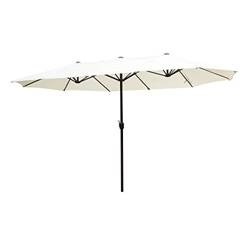 Outsunny Parasol de Jardin XXL Parasol Grande Taille 4,6L x 2,7l x 2,4H m Ouverture Fermeture manivelle Acier Polyester Haute densité crème
