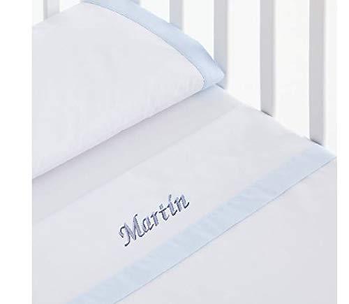 mibebestore - Sábanas 100% Algodón Capazo/Coche Personalizado con nombre de bebé bordado - Celeste