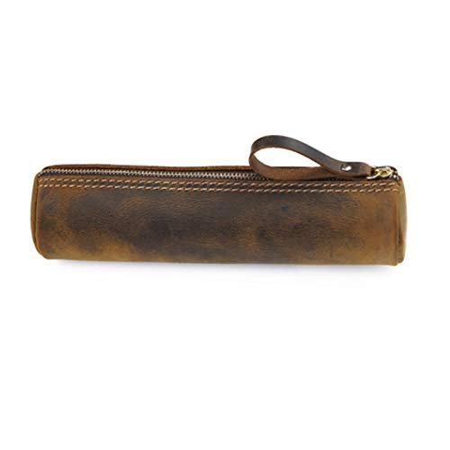 Cartuchera Funda de cuero genuino para lápices y pinceles - bolsa de lápiz para la escuela, oficina y trabajo para Suministros de arte de Papelería ( Color : Brown , Tamaño : 20.5x5.2x5.2cm )