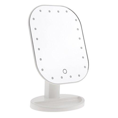 Sharplace Professionnel Miroir de Maquillage sur Pied Tactile avec Lumière LED pour Rasage, Appilcation Eyeliner/Mascara/Soins de Beauté - Blanc