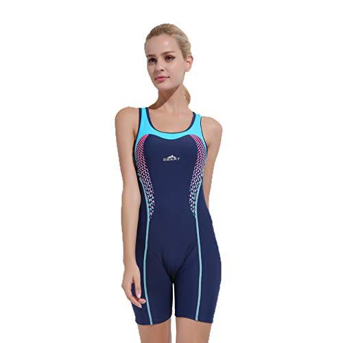 iYmitz Damen Badeanzug Push up Bademode Schwimmanzug Einteiliger Schnelltrocknend Effekten Rückenfrei Bandeau(Dunkelblau,3XL)