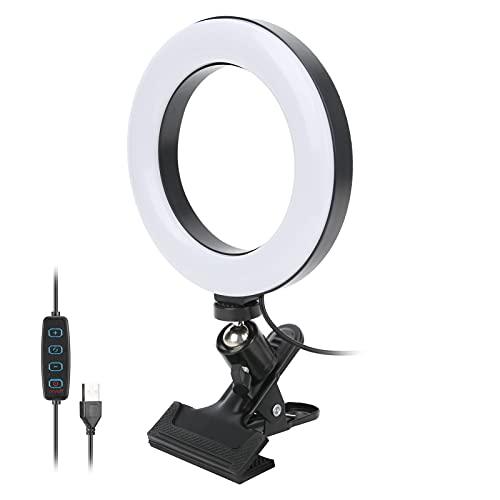 Forma de Anillo Ajustable de 6 Pulgadas Luz de Relleno Luz Suave Vapor en Vivo Maquillaje Reunión Lámpara Suplementaria 3 Modos de Luz Trabajo Remoto Video Interfaz USB Diseño Circular