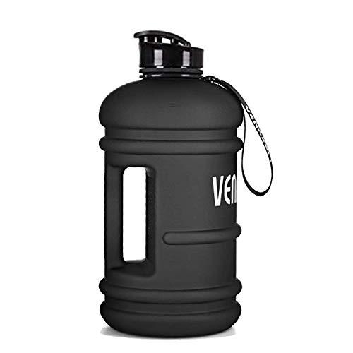 VENNERLI Borraccia Acqua da 2,2 Litri Sportiva Borraccia Dacqua Palestra Plastica Bottiglia Riutilizzabile Portatili per Sport Nero Opaco