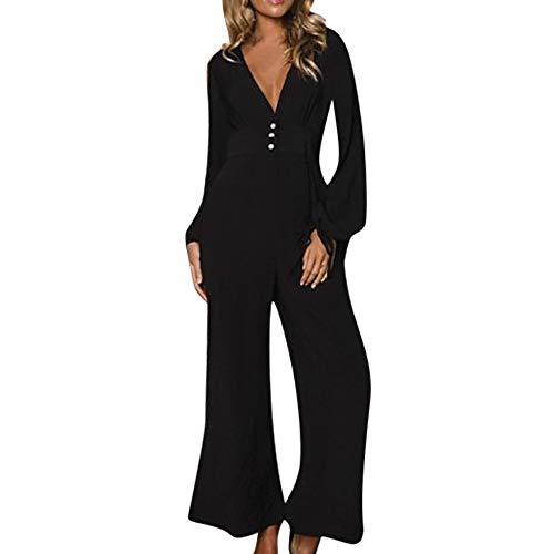 FRAUIT Elegante zwarte jumpsuit dames casual brede beenknop losse lange mouwen onesies breed gesneden, breed gesneden playsuit met wijde been zacht comfortabele romper.