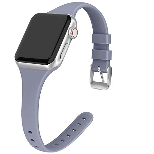 THWALK Sport Band Compatible with Apple Watch 38/40mm 42/44mm Slim Thin Narrow Silicone Replacement Strap with Stainless Steel Buckle Compatible for iWatch SE Series 6/5/4/3/2/1(Lavender Gray, 42/44mm)