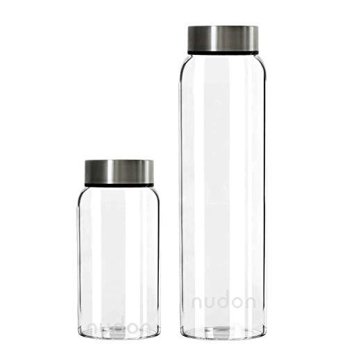 nudon Motivational Trinkflasche, BPA-freies Glas, Auslaufsicher, Weithals, Zeitmarkierung Für mehr Flüssigkeitszufuhr, Ideal für die tägliche Arbeit im Schulsport und im Freien