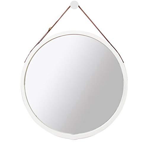 Stickers muraux Miroir suspendu Nordic Miroir de salle de bain Miroir miroir de salle de bain Miroir suspendu Toilette Salle de bain Miroir rond Diamètre 45 cm Blanc