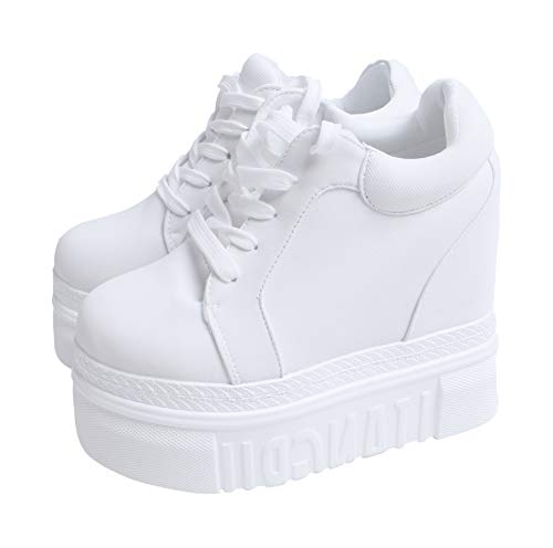 ACE SHOCK Women Fashion Platform Sneakers High Hidden Heel Wedge Walking Shoes Brides Wedding Shoes (Without Flower White, 5)