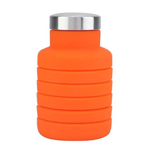 Kadimendium Botella de Agua del silicón de la Taza del silicón 500ml para la Taza del Viaje para Acampar(Orange)