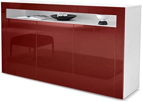 Meal Seitenschrank, Sideboard, Wohnzimmerschrank, mit einem offenen Fach und drei Toren,Red highlight