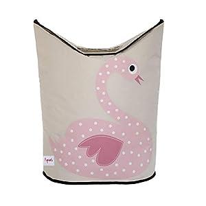3 Sprouts Baby Laundry Hamper Storage Basket Organizer Bin for Nursery Clothes, Swan