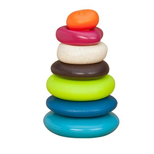 B. toys – Skipping Stones – Aros apilables texturizados – Clásico juego de aros apilables para bebés – Juguetes de desarrollo temprano , color/modelo surtido