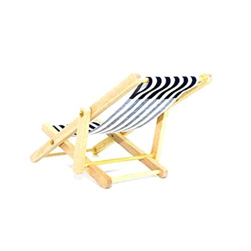 YepYes Miniatura Casa De Muñecas De Madera Plegables Silla De Playa Mini Chaise Longue Juguetes con Raya Dollhouse Muebles De La Casa Aire Libre Accesorios Color Azar
