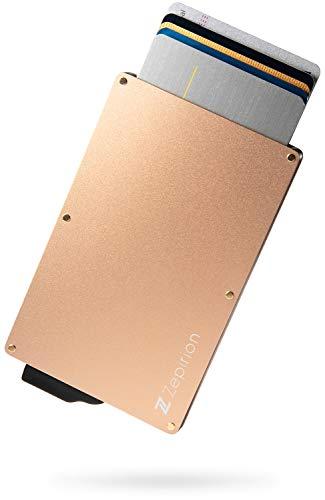 [zepirion] クレジットカードケース スキミング防止 磁気防止 スライド式 スリム マネークリップ付き アルミニウム ゴールド