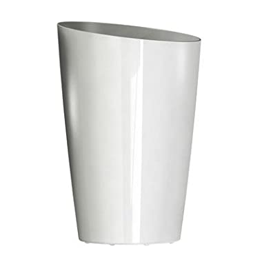 DCN Plastic Round Tall Planter, 13-Inch, White