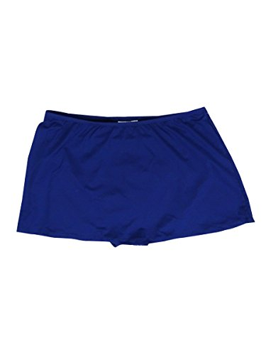 24th & Ocean Women's Solid Skirted Hipster Bikini Swimsuit Bottom, Navy2, Medium
