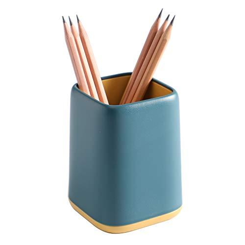 YOSCO Desk Pen Holder Stand Two-tone Pencil Cup Pot Desk Organizer Makeup Brush Holder (Blue)