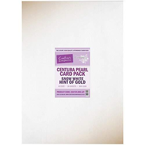 Crafters Companion CP-SNOWG Crafter s Companion Paquete de Tarjetas de Hoja de Perlas Centura A3 de 25 Piezas-Blancanieves y los Dorado, Blanco, Una Talla
