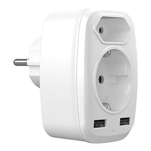 USB Adapter Steckdose, 4 in 1 USB Steckdosenadapter mit 1 Fach Schuko Mehrfachsteckdose (4000W) + 1 Eurostecker + 2 USB Ladegerät Adapter (2.4A) für iPhone/iPad/Handys/Laptop/Tablet - Weiß