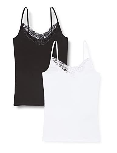 Vero Moda VMINGE Lace Singlet GA 2-Pack Noos Camiseta sin Mangas, Negro/Paquete: Blanco Brillante, L para Mujer