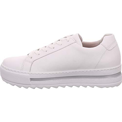 Gabor Damen Sneaker, Frauen Low-Top Sneaker,Comfort-Mehrweite,Reißverschluss,Optifit- Wechselfußbett, strassenschuh schnürer,Weiss,37 EU / 4 UK