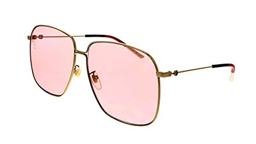 Gucci 0394S Women's Rectangular Metal Sunglasses 004 (Gold) Pink 61 mm
