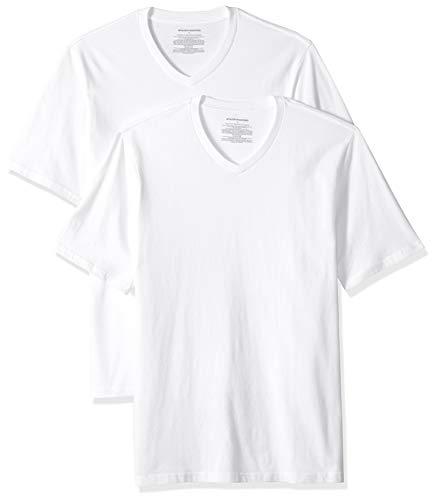 Amazon Essentials - Camiseta de manga corta de cuello de pico y corte holgado para hombre, paquete de 2 unidades, Blanco (White Whi), US XS (EU XS)