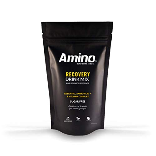 Amino Recovery - Essential Amino Acid Drink - 3300mg EAA + BCAA Amino Acids & B Vitamins - Protects Muscle Mass & Aids Recovery - Intra-Workout - Zero Sugar & No Artificial (Red Berry, 8 Servings)