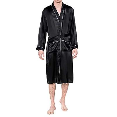 COLD POSH Men's 100% Silk Satin Robe Long Sleeve Bathrobe Classic Robes Lightweight Sleepwear,S/M,L/XL