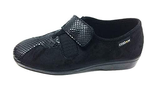 Zapatilla de Calle/Mujer/Cosdam/Material Bamara/Ancho Especial/Negro/Cuña 3 cm/Cierre fácil/Talla 40