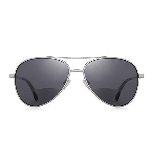 JM Klassisch Pilot Bifokale Lesebrille Sonnenbrille Lesegeräte für Männer Frauen Silber +2.5