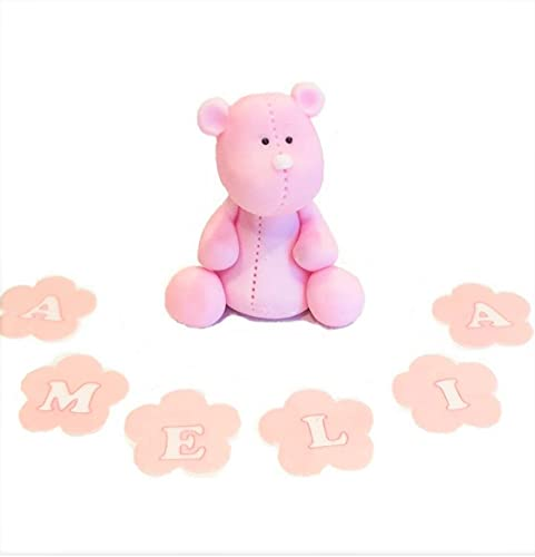 jncakes Teddy Bear Cake Toppers Girl Edible icing Personalised Birthday Decoration