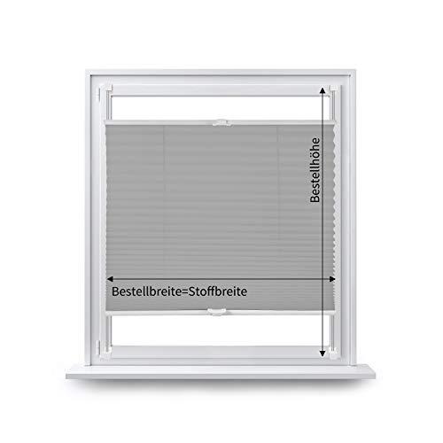 Eurohome Plissee klemmfix ohne Bohren für Fenster 90x130cm Grau