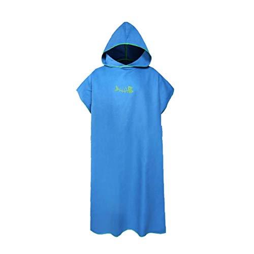 De secado rápido cambio de toallas para el adulto Cambio del traje de microfibra cómodo poncho Surf Sand Beach Adultos Cambiar el traje con capucha Trajes Cambio Suministros azul para vacaciones