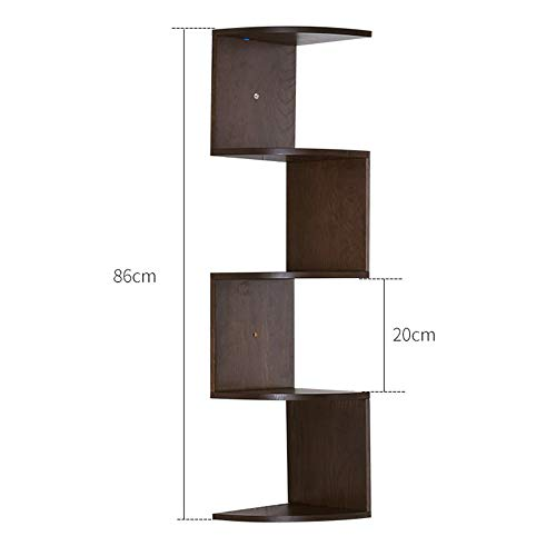 FEI Tablette d'angle, étagères flottantes multicouches 100% bois massif, rangement pour présentoirs, couleur bois et noyer (3 tailles) (Couleur : B, taille : 20 * 20 * 86cm)