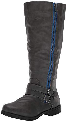 Brinley Co Women's Fulton Knee High Boot, Grey, 8 Wide/Wide Shaft US
