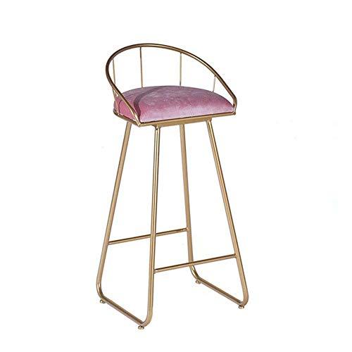 N/Z Wohngeräte Küche und Zuhause Barhocker Bar Chair Einfacher moderner Hochhocker für Bar Counter Hochlastlager Geschweißtes Eisen Handwerk mit Pedalen und Rückenlehne Pink (Größe: 45cm)