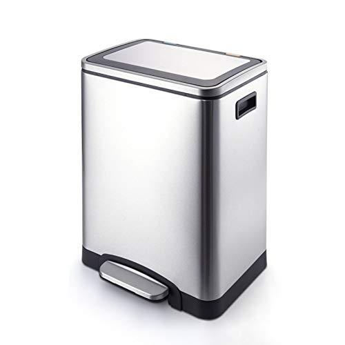 HONGFEI-SHOP Bote de Basura Cocina Acero Inoxidable Papelera Pedal de clasificación Doble Barril Cubo de Basura Rectangular Cubo de Basura con Tapa, 7.9 galones Bote de Basura del baño