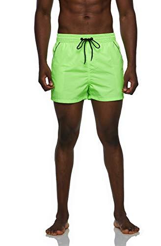 Arcweg Badehose für Herren Kurz Badeshorts für Männer Jungen Schnelltrocknend Beachshorts Boardshorts Schwimmhose Kurz Strand Shorts mit Mesh Innenslip und Verstellbarem Tunnelzug Grün L