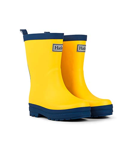 Hatley Kids' Big Classic Rain Boots, Yellow and Navy, 3 US Youth