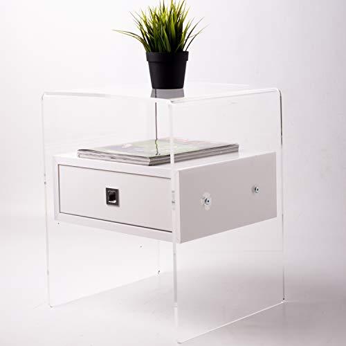 Fimel Comodino tavolino in plexiglass Trasparente con cassettino Bianco Lucido Misura L 40 X P. 37 X H 50 CM Spessore plexiglss 8