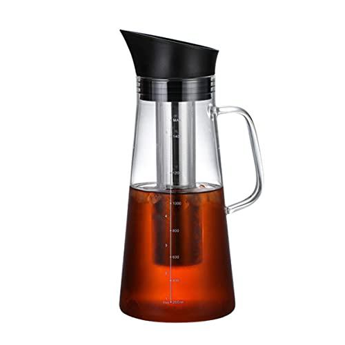 Cafetera Cold Brew Cafetera helada, cafetera / tetera de vidrio espesado de gran capacidad, colador de acero inoxidable 304, disponible en caliente y en frío (1200ml)
