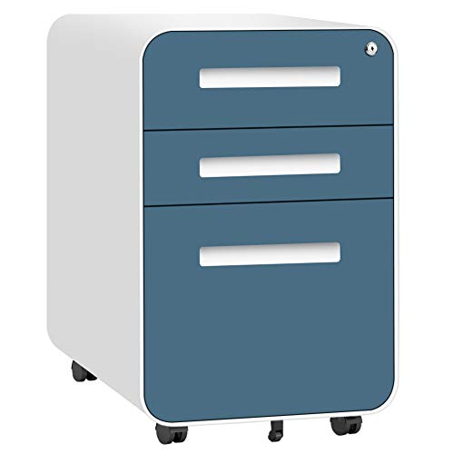 3 Drawer File Cabinet with Lock, INVIE Under Desk Metal Filing Cabinet for Legal, Letter & A4 File, Fully Assembled Rolling File Cabinet, Blue/White