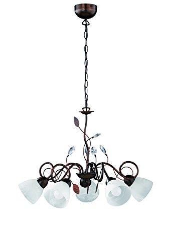 Trio Leuchten Kronleuchter 110700528 Traditio, Metall rostfarben antik, Glas in weiß, exkl. 5 x E14