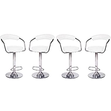 4 Modern Adjustable Counter Swivel Pub Style Bar Stools / Barstools White