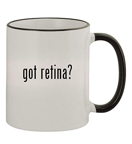 got retina? - 11oz Colored Handle and Rim Coffee Mug, Black