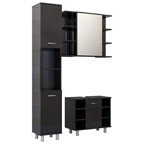 vidaXL Badmöbel Set 3-TLG. Waschbeckenunterschrank Unterschrank Spiegelschrank Hochschrank Schrank Badezimmerschrank Badschrank Hochglanz-Schwarz Spanplatte