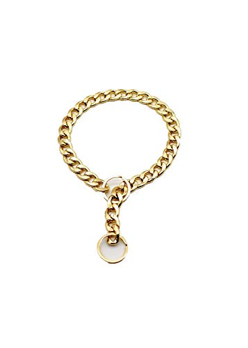 Hundehalsband Aus Metall Großer Goldkette Zu Halsband Hunde Klein (Color : Gold, Size : 55cm)