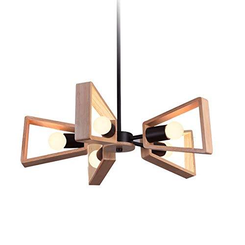 Candelabro nórdico de madera maciza iluminación colgante de café regulable E27 Baño Mini lámpara colgante Decoración Lámparas - Luz blanca 5 luces